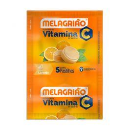 Pastilha de Vitamina C Melagrião® sabor laranja com açúcar - Sachê com 5 Pastilhas