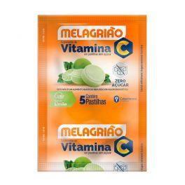 Pastilha de Vitamina C Melagrião® sabor Limão sem açúcar - Sachê com 5 Pastilhas
