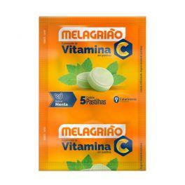 Pastilha de Vitamina C Melagrião® sabor Menta com açúcar - Sachê com 5 Pastilhas