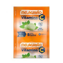 Pastilha de Vitamina C Melagrião® sabor Menta sem açúcar - Sachê com 5 Pastilhas